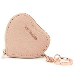 TED BAKER Kahi Heart Taupe Coin Bag Charm Key Ring